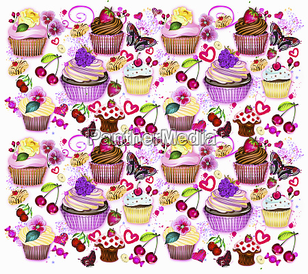 cupcakes fruit and butterflies pattern