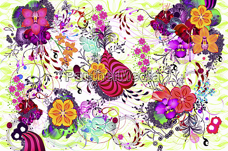 bright psychedelic color floral pattern