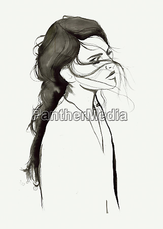contemplative woman with windswept hair and