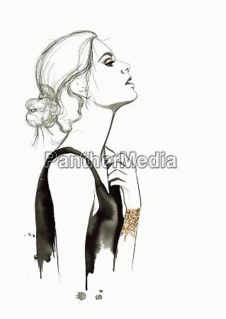 fashion illustration of woman adjusting dress