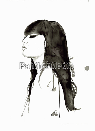 contemplative woman with long black hair