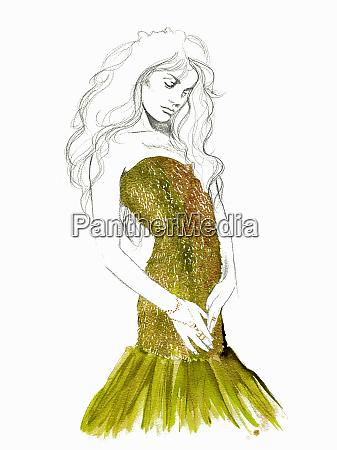 fashion illustration of woman posing in