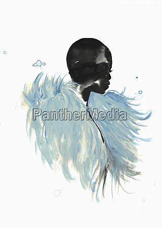beautiful woman wearing fluffy blue stole