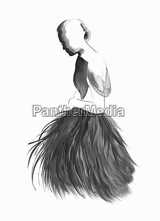 fashion illustration of woman wearing fluffy