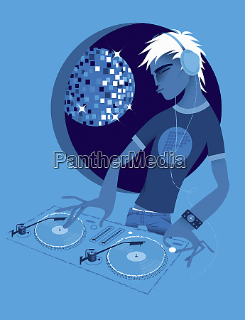 male dj spinning records at turntable