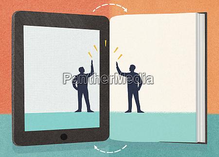 businessman on digital tablet high fiving