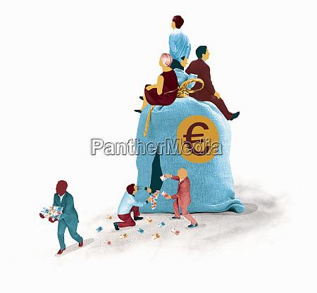 business people ignoring businessmen stealing euros