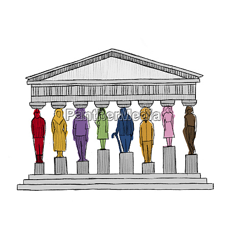 diverse people as pillars supporting roof