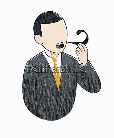 businessman smoking question mark pipe