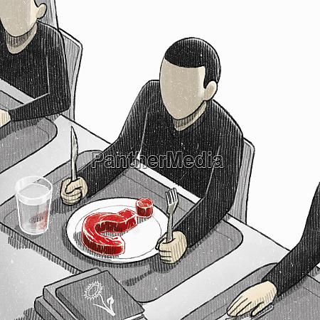 boy in canteen with raw meat