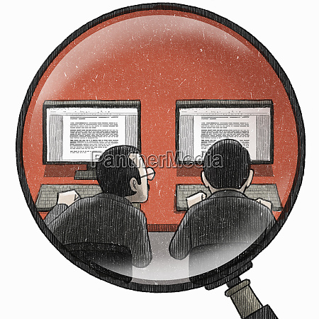 magnifying glass examining businessman copying colleagues