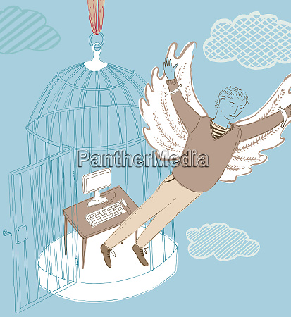 businessman with wings escaping office inside