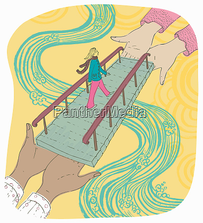 woman crossing river on bridge supported