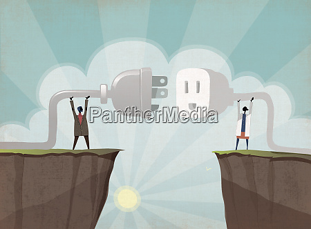 businessman and scientist connecting plug across