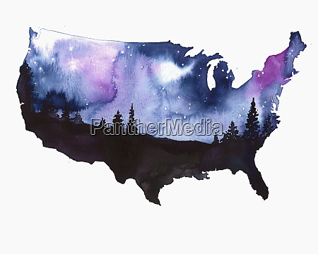starry night sky over map of
