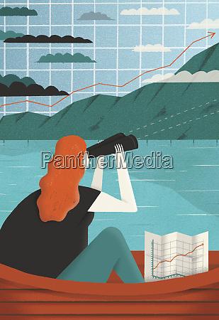 woman looking though binoculars at graph
