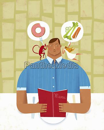man choosing between healthy and unhealthy
