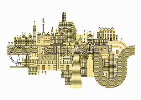 illustration of lots famous buildings in