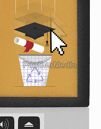 computer cursor dragging mortarboard and diploma