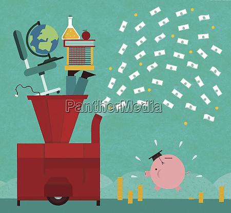 machine turning education into money for