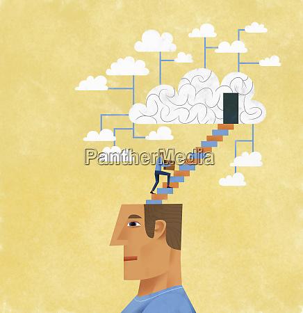 man organising and storing ideas using