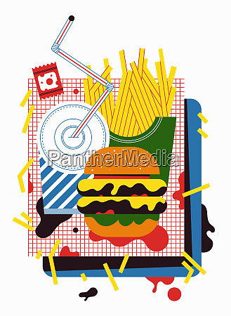 messy tray of cheeseburger french fries