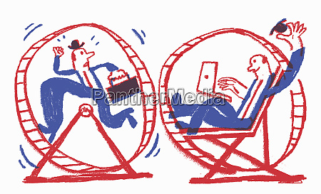 contrast between stressed businessman running in