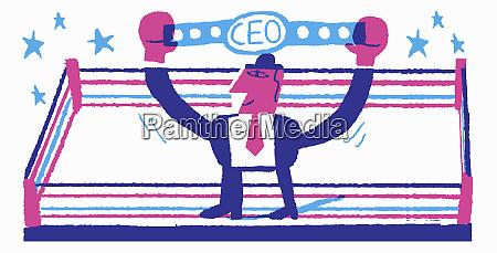 happy businessman holding aloft ceo championship