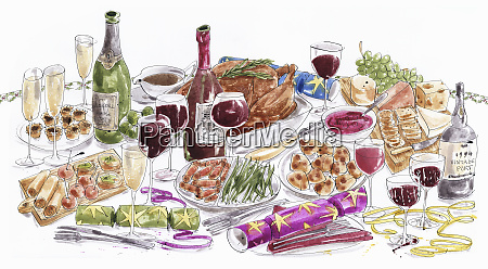 christmas lunch table with food and