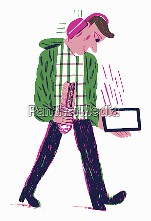 cheerful man listening to music from