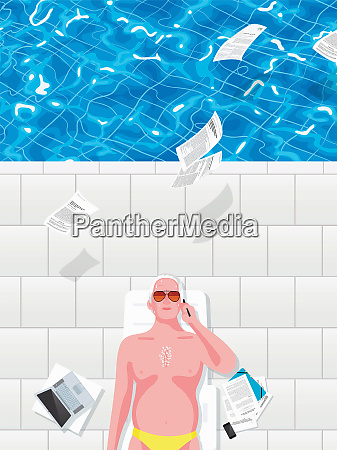 man lying beside swimming pool with