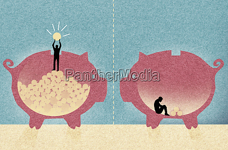 contrast between wealthy man and poor