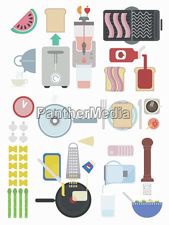 arrangement of food ingredients and cooking