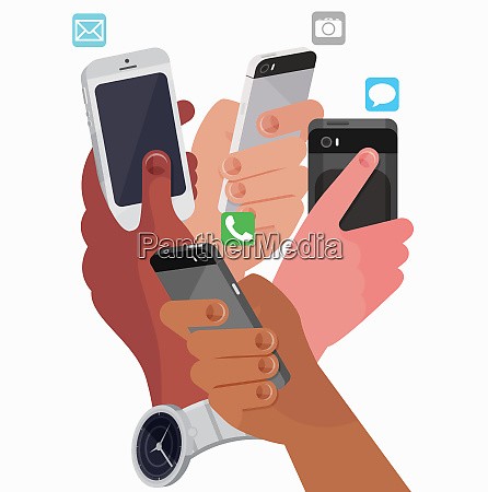 four hands using smart phones for