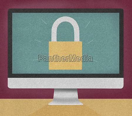 padlocked computer monitor