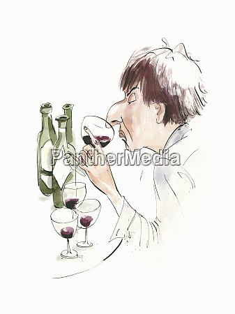 haughty man with large nose wine