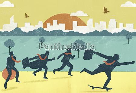 businessmen in a hurry running skateboarding
