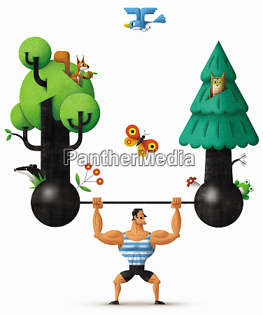 strongman lifting barbell supporting nature