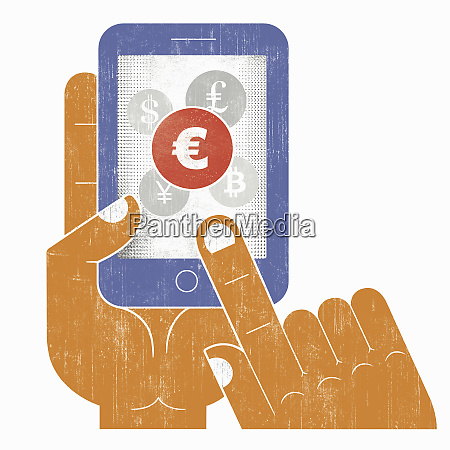 hand choosing euro sign currency on