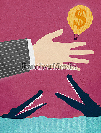 businessman, releasing, dollar, hot, air, balloon - 26014615