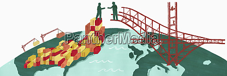 businessmen bridging the gap between united