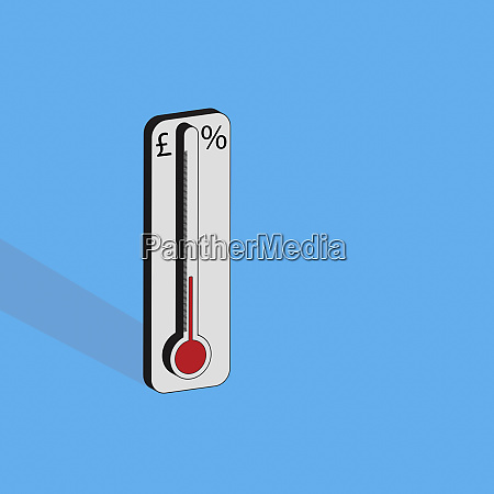 thermometer with pound sign and percentage