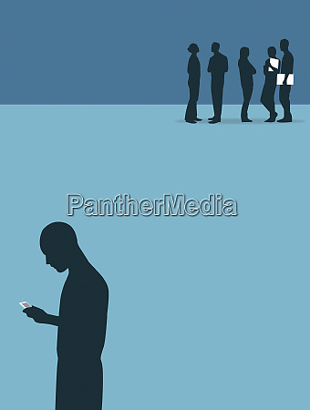 man using mobile phone isolated from
