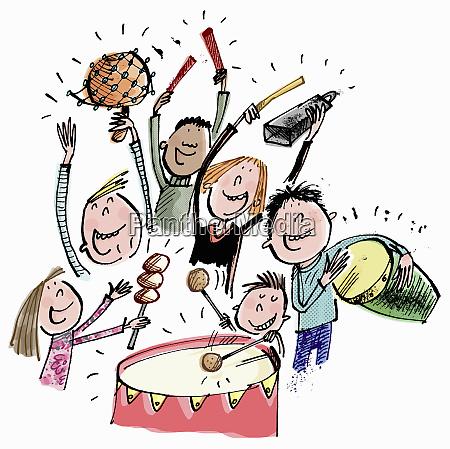 children having fun playing musical percussion