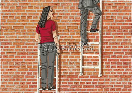 woman watching man climb higher on