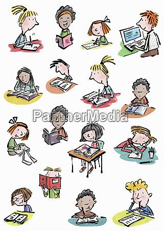 lots of young children enjoying reading