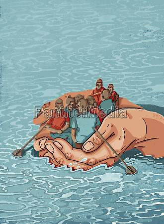 hands forming boat saving migrants crossing