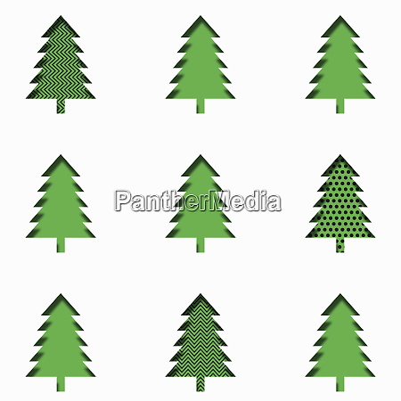 rows of paper cut effect christmas