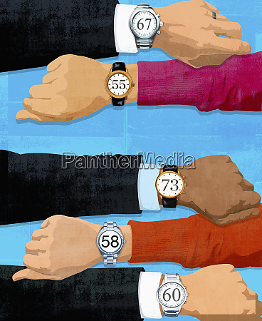 people checking ages on wrist watches