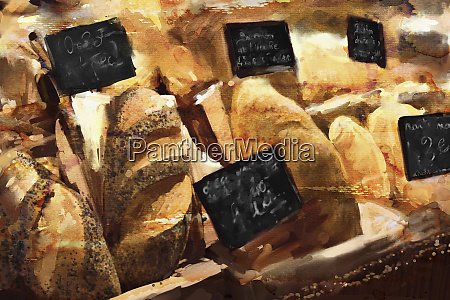 close up of bakery shop display